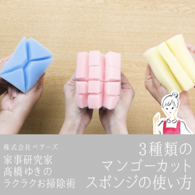 大人気!3種類の「マンゴーカットスポンジの使い方」家事研究家・高橋ゆきの魔法のお掃除道具DIY