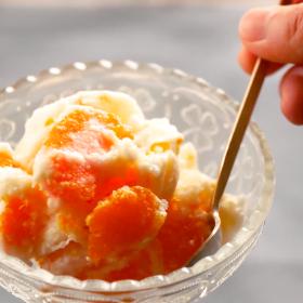 みかん牛乳アイスクリームの作り方!マシュマロでクリーミーに【簡単!もむだけアイスレシピ】