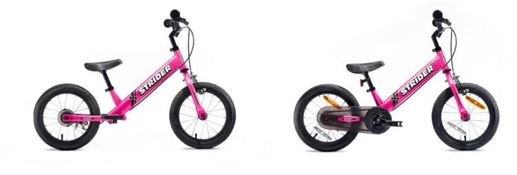 着脱式ペダル付き「ストライダー 14x」に新色のピンクが登場!ママでも簡単に自転車に変身
