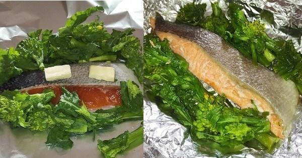 植物性×動物性のW抗酸化成分がとれる 「菜の花と鮭のホイル焼き」