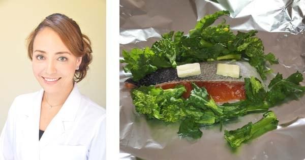 フライパンで蒸し焼き 「菜の花と鮭のホイル焼き 」