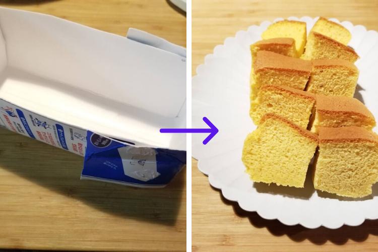 話題の「台湾カステラ」牛乳パック型を使って家でもふわっふわ仕上がりに。卵2個でミキサーいらずの食べ切りサイズ!