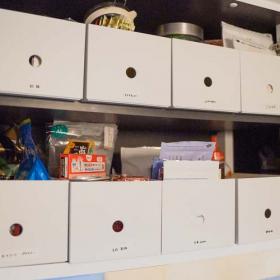 【無印良品】ハーフサイズが使える!キッチンの吊戸棚収納は「ポリプロピレンファイルボックス」が正解でした